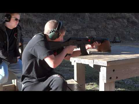 Connor fires his AK-47, Christmas 2011